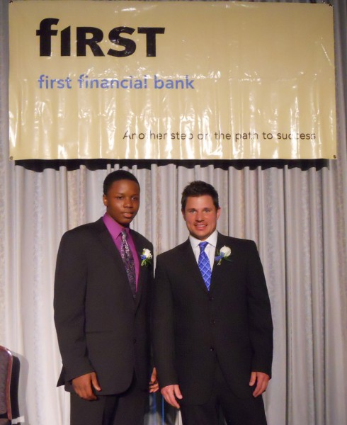Javele Jackson, was a senior at Western Hills University High School when he was honored by the Girls and Boys Clubs of Greater Cincinnati. He stands with Nick Lachey.