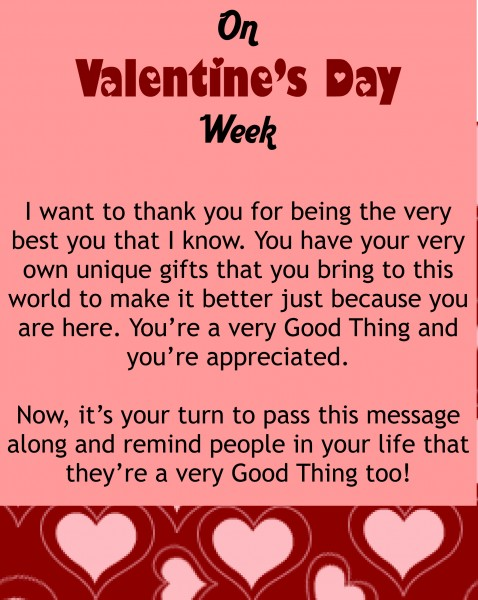 My valentine 39 s day message for you good things going around for Great things to do for valentines day