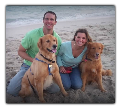 Chris and Eileen Pike of Cincinnati with golden retrievers