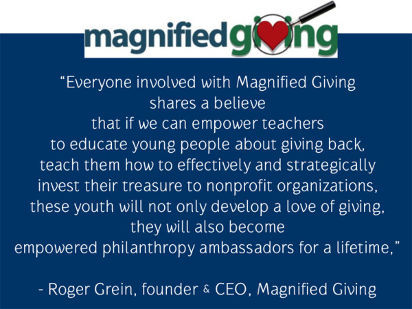 quote from Roger Grein - Magnified Giving Cincinnati nonprofit