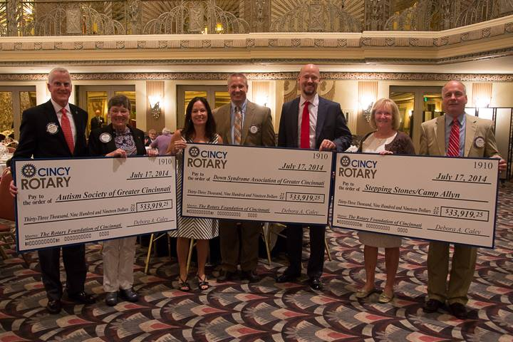 Rotary Club of Cincinnati presented checks to The Down Syndrome Association of Greater Cincinnati, Stepping Stones for Camp Allyn, and The Autism Society of Greater Cincinnati