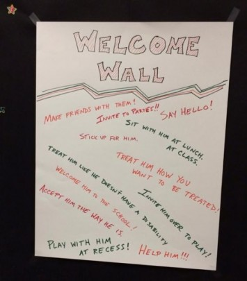 When the Cincinnati ReelAbilities Film Festival Education Outreach Team speaks at Cincinnati schools, they work with students in creating a Welcome Wall.