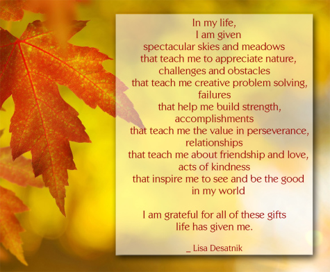 quote about gratitude by Lisa Desatnik on Thanksgiving