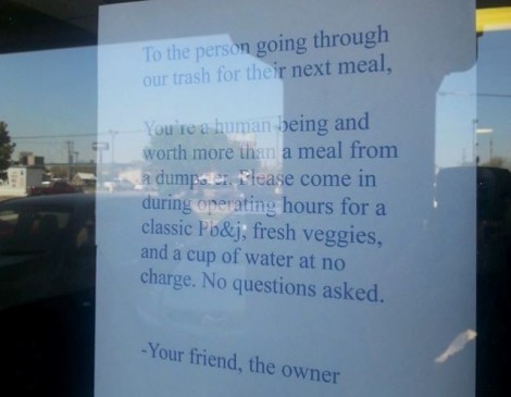 Oklahoma Restaurant Owner Writes Note For Dumpster Diver