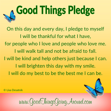 Good Things Pledge created by Lisa Desatnik