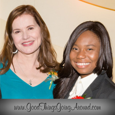 YWCA of Greater Cincinnati 2015 scholarship recipient, Lily-Michelle Arthur from Norwood High School, is with YWCA Career Women of Achievement Keynote Speaker Geena Davis