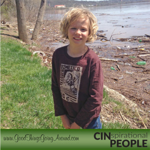 Hyde Park Elementary School student Caden Elrod along the Ohio River
