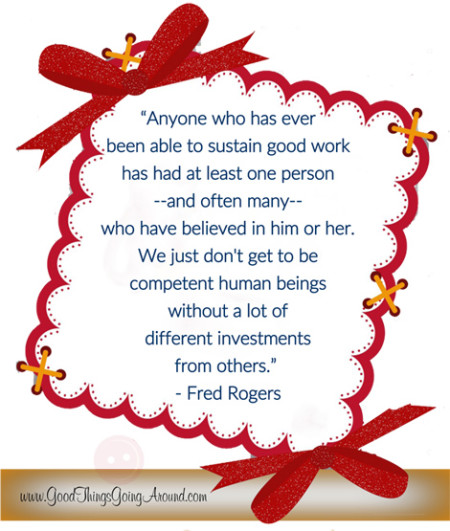 an inspirational quote from Fred Rogers about encouragement of others