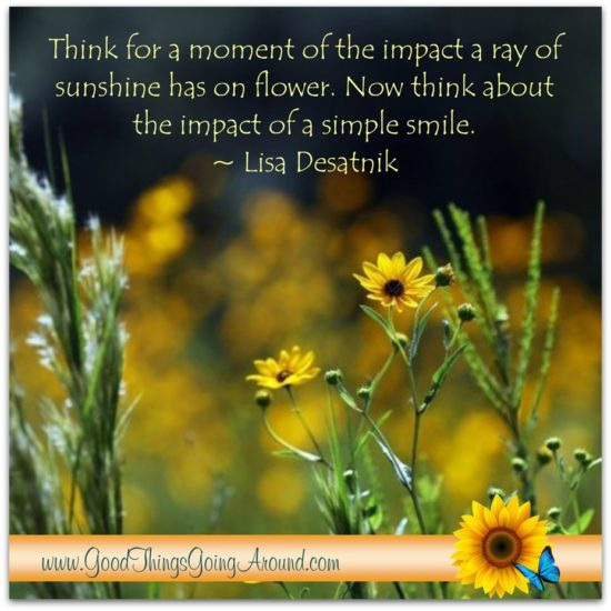 A quote about smiling by Lisa Desatnik
