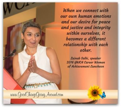 Zainab Salbi, keynote speaker at the 2016 YWCA of Greater Cincinnati Career Women of Achievement, reminded guests that the journey of courage and truth begins on a cliff. Read more in this post.