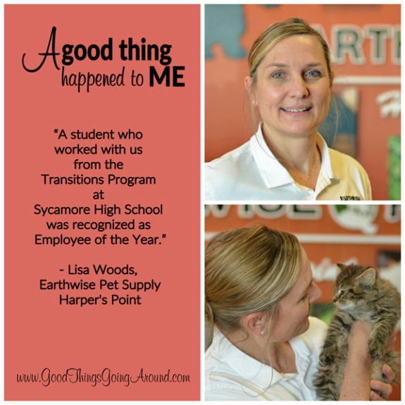 Lisa Woods, owner of the EarthWise Pet Supply at Harper's Point, shared how a student with a disability from Sycamore High School who worked for them earned Employee of the Year