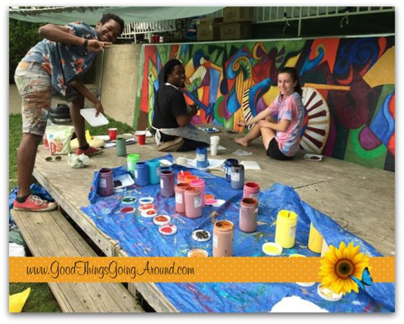 Cincinnati artist Cedric Michael Cox partnered with Fairview-Clifton German Language School to create a mural for the Clifton Cultural Arts Center