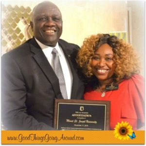Rosemary Oglesby-Henry, founder of Rosemary's Babies, presented an award of appreciation to Dr. James Williams, president of Mt. St. Joseph University, for the school's support.