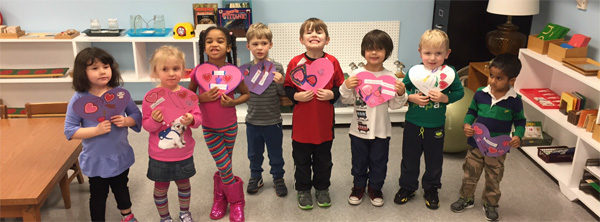 kids at Kennedy Heights Montessori Center in Cincinnati made Valentine's Day cards for seniors