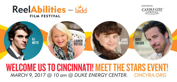 RJ Mitte, Jamie Brewer, Kurt Yaeger, and Lauren Potter are among the celebrities attending the 2017 Cincinnati ReelAbilities Film Festival