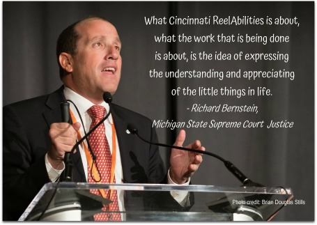 Michigan Supreme Court Justice Richard Bernstein spoke about appreciation at the 2017 Cincinnati ReelAbilities Film Festival
