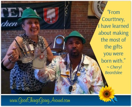 Cheryl Beardslee of Cincinnati says Courttney Cooper, an artist at Visionaries and Voices, taught her about making the most of the gifts you were born with.